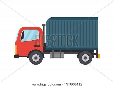 Delivery flat style vector truck illustration. Isolated on white. Side view. Logistics and delivery vehicle trendy style icon.