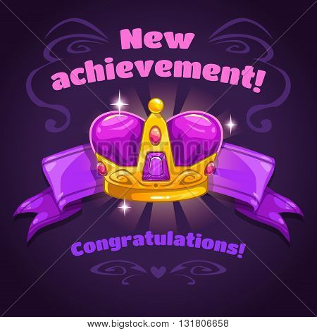 Cool vector illustration with golden crown on ribbon, new achievement game screen, super game trophy icon