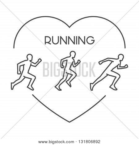 Modern outline running symbol. Vector figures runners. Black line run logo. Love running symbol.