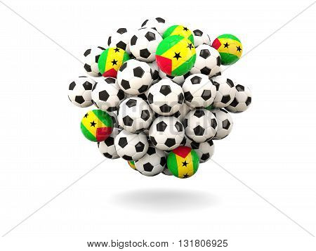 Pile Of Footballs With Flag Of Sao Tome And Principe
