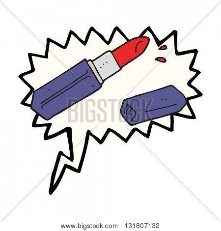 freehand drawn speech bubble cartoon lipstick