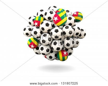 Pile Of Footballs With Flag Of Togo