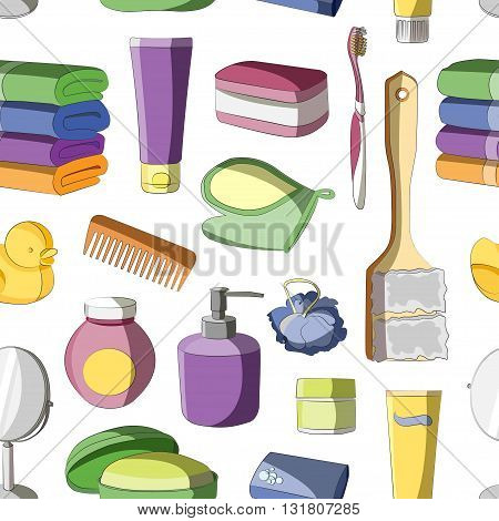 Bath Accessories pattern and Products for Beauty in free-hand style