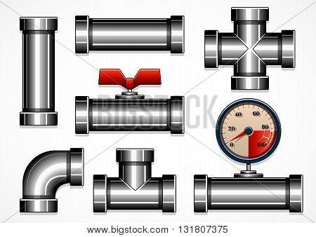 Set of steel pipes on white background