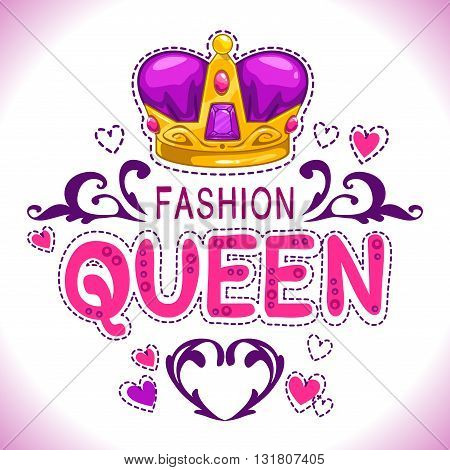 Glamour vector girlish print with princess golden crown, fancy fashion queen lettering, vector template for girls t shirt design