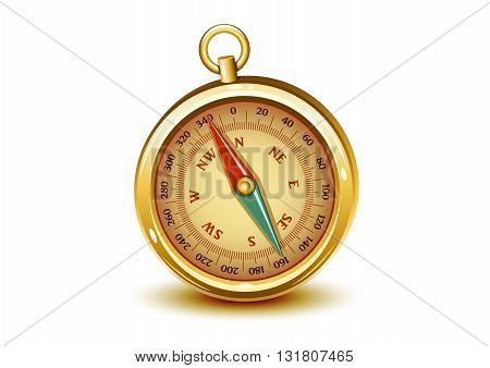 Retro golden realistic compass on white background