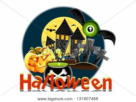 Halloween retro white poster with different objects