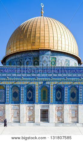 Jerusalem,  Israel - November 4, 2010: The Top of the Rock mosque on the Temple Mount (Har Habait)