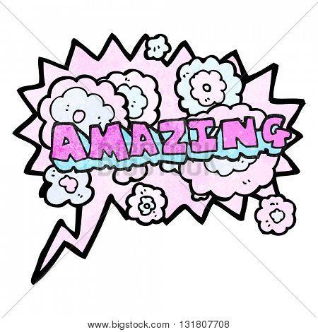 freehand drawn texture speech bubble cartoon amazing word