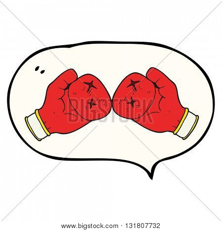 freehand drawn speech bubble cartoon boxing glove