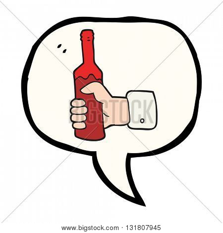 freehand drawn speech bubble cartoon hand holding bottle of wine