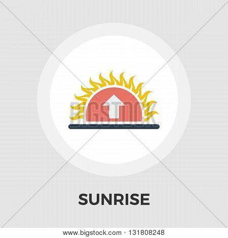 Sunrise icon vector. Flat icon isolated on the white background. Editable EPS file. Vector illustration.