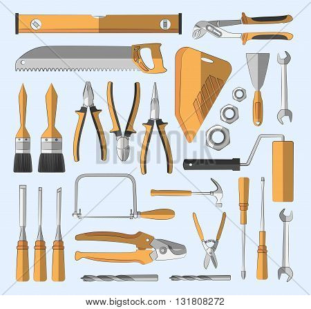 Construction tools set of colored icons. Vector illustration