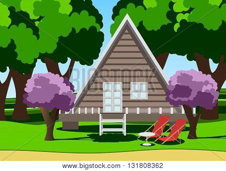 summer garden. The house in the forest, pink bushes and couple of chaise lounge