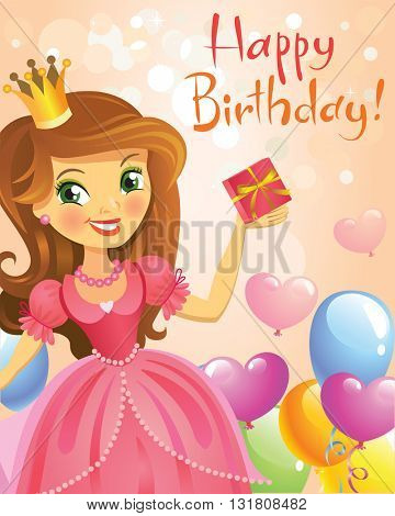 Illustration of beautiful princess keeping a gift in a hand. Possible to use as party invitation, greeting card, banner. Vector illustration.