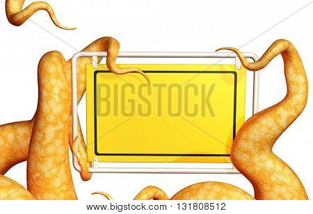 Tentacles of a monster, holding blank information board. Isolated on white background. 3d render
