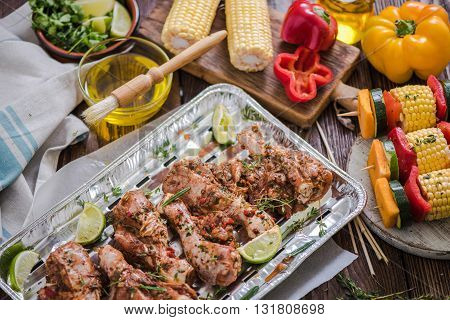 Food Marinated For Barbecue