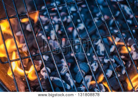 Barbecue Grid Against Flames From Charcoal