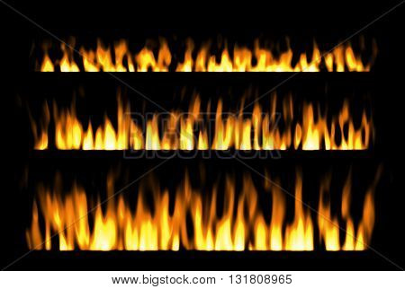 fire or fire lines isolated on black background