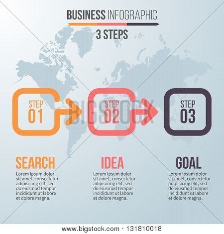Business infographics. Timeline with 3 steps. Vector template.