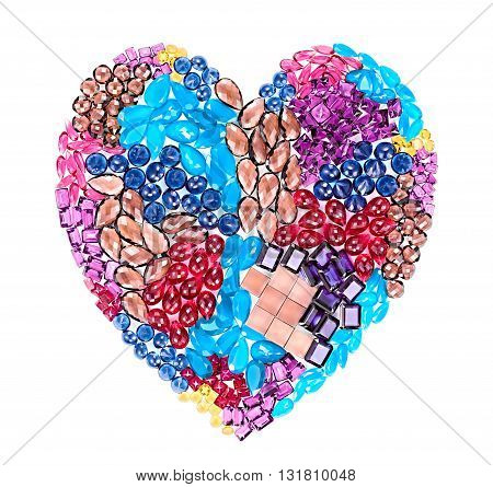 Fashion gemstone heart shape.Luxury shiny glamor colorful placer. Awesome precious stones, mosaic, multicolored creative unusual party decoration. Love concept.Celebration holiday background, isolated