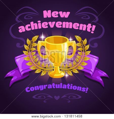 Cool vector illustration with golden winner cup and laurel wreath on ribbon, new achievement game screen, super game trophy icon