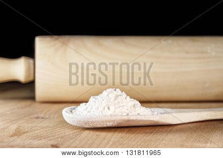 Flour In A Wooden Spoon