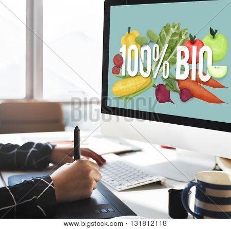 100% Bio Good Food Eat Well Concept