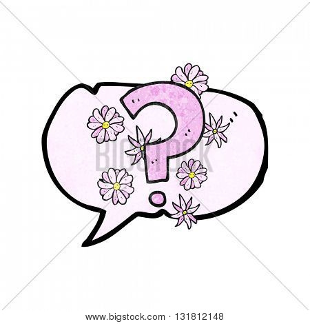 freehand drawn texture speech bubble cartoon question mark