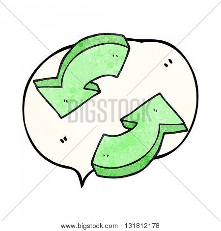 freehand drawn texture speech bubble cartoon recycling arrows