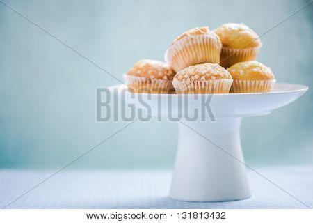 Lemon Muffins Stack On Serving Platter