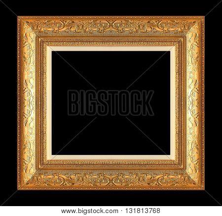 antique golden frame isolated on black background