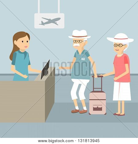 Senior couple in queue waiting check-in counters at airport. Vector illustration flat design