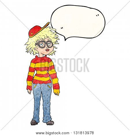 freehand drawn texture speech bubble cartoon geeky girl
