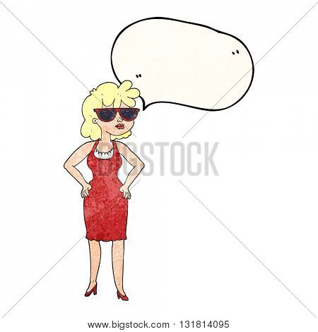 freehand drawn texture speech bubble cartoon woman wearing sunglasses