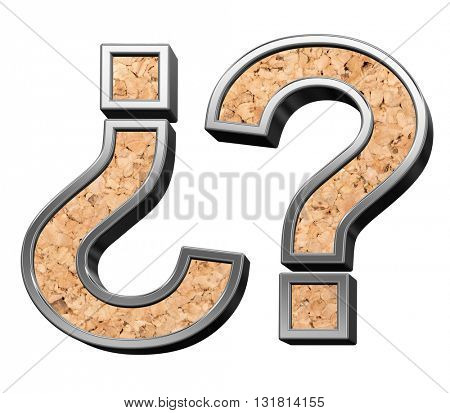 Question mark from cork with silver shiny frame alphabet set, isolated on white. 3D illustration.