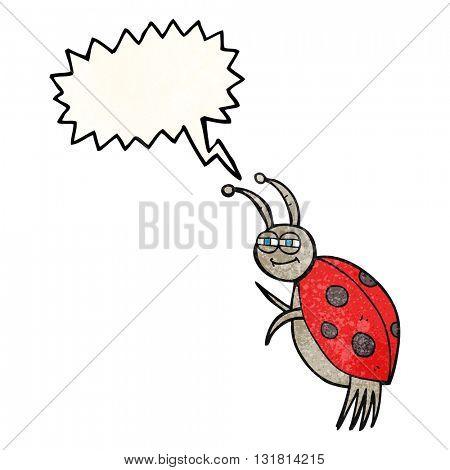 freehand drawn texture speech bubble cartoon ladybug