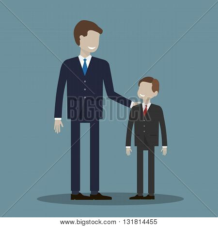 Businessman and boy. Partnership without age concept. Or a father with his son, friends and partners. Vector illustration flat design.