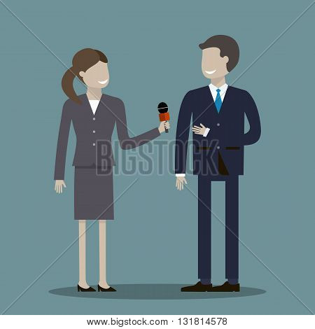 A woman journalist with microphone is interviewing men businessman, politician or another professional. Vector illustration flat design
