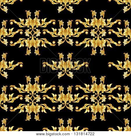 Seamless gold pattern in floral style on black background