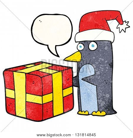 freehand speech bubble textured cartoon christmas penguin with present