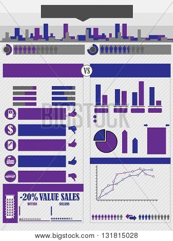 INFOGRAPHICS CITY PURPLE for web and other