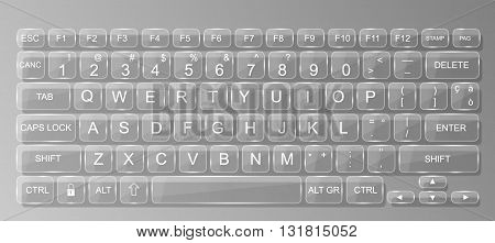 KEYBOARD PC  GLASS WHIT SHADOW TRASPARENT GREY