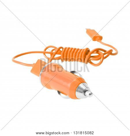 Mobile charger for car isolated on white.