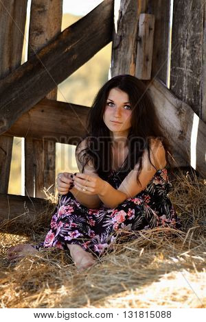Beautiful girl sitting in the hay. Attractive girl with hay. Gorgeous woman, girl in the wooden stable, stable, yellow, dry stack of hay, haystack. Beautiful girl with lovely, long dress and haystack, hay. Hay.
