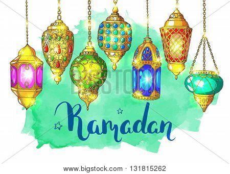 Ramadan Kareem. Colorful shiny Arabic lanterns. Bright vector watercolor background. Ink hand drawn inscription. Typography. Brush lettering. Calligraphy. Ramadan greeting card. Turquoise watercolor card.