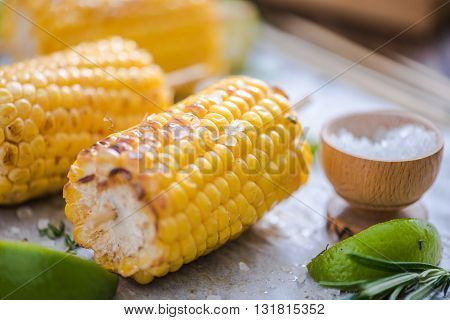 Sweet Corn Cob Grilled Served With Salt