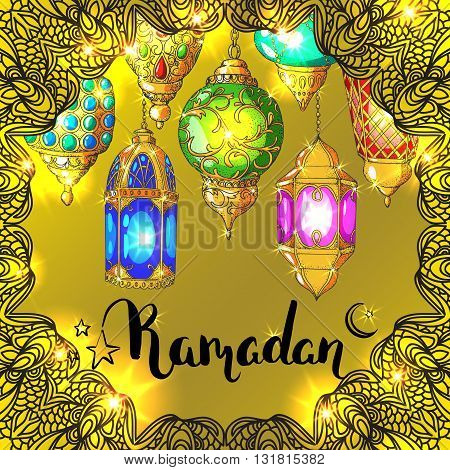 Vector shiny Ramadan card. Arabic glowing lanterns. Islamic holiday background. Ink handwritten inscription Ramadan Kareem. Brush lettering. Calligraphy. Golden greeting card. Islamic arabic ornament.