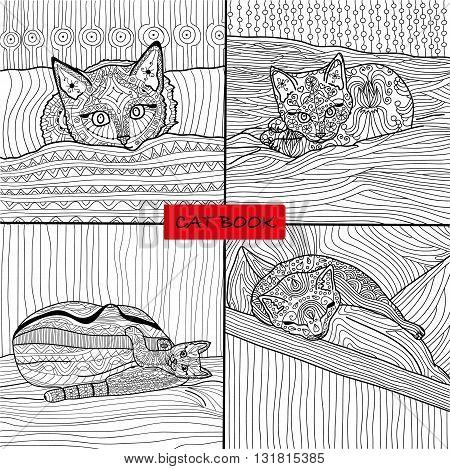 Coloring book for adults - 1 set of four drawings coloring cat pages for adults and children, vector, cat book