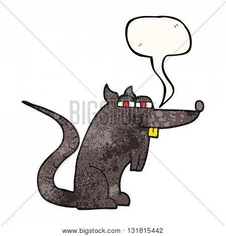 freehand speech bubble textured cartoon evil rat